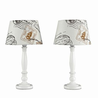 Pair of Shabby Chic Style Table Lamps, Cream & Stamp Design, Brown
