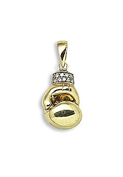 Jewelco London 9 Carat Yellow Gold 6pts Diamond Boxing Glove Pendant