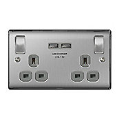 Masterplug Brushed Steel Double Switched Socket with USB Outlets [Energy Class A+++]