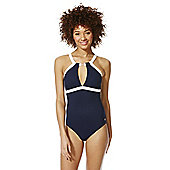 F&F Luxury Nautical High Neck Swimsuit - Navy & White