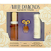 Elizabeth Taylor White Diamonds Gift Set 30ml EDT + 3.7ml Parfum + 28g Satin Body Talc For Women