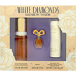 Elizabeth Taylor White Diamonds Gift Set 30ml EDT + 3.7ml Parfum + 28g Satin Body Talc For Women