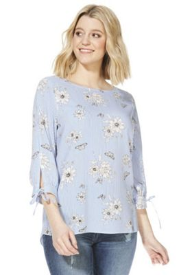 F&F Striped and Floral Print Blouse Blue/White 12