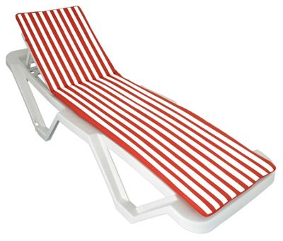 Sun Lounger Cushion - Red / White - Fits most Loungers Inc Resol Master/Marina