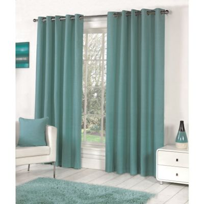 Fusion Sorbonne Eyelet Lined Curtains Teal - 46x72 (117x183cm)