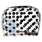 Miss Etoile Large Clear Cosmetic Travel Bag with Zip Black Dotty Design 24 x 19 x 9 cm