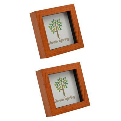 Dark Wood Effect 4x4 Box Photo Frame - Standing & Hanging - Pack of 2