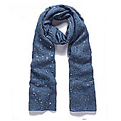 Blue Star Metallic Foil Print Scarf