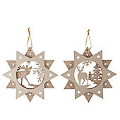 Metallic Woodland Star Christmas Decorations - Set Of Two