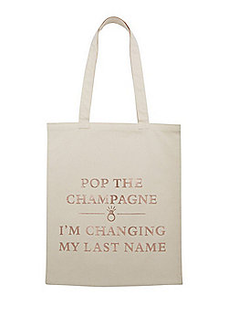F&F Bride Slogan Shopper Bag - Cream