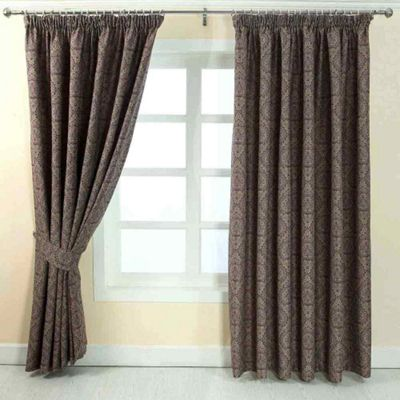 Homescapes Purple Jacquard Curtain Floral Damask Design Fully Lined - 90