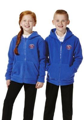 Unisex Embroidered School Zip-Through Fleece with Hood 7-8 years Blue