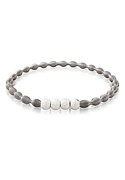 Sterling Silver and Stainless Steel Four Silver Beads Bangle