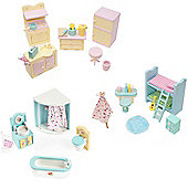 Sweetbee Kitchen, Bedroom & Bathroom Dolls House Furniture