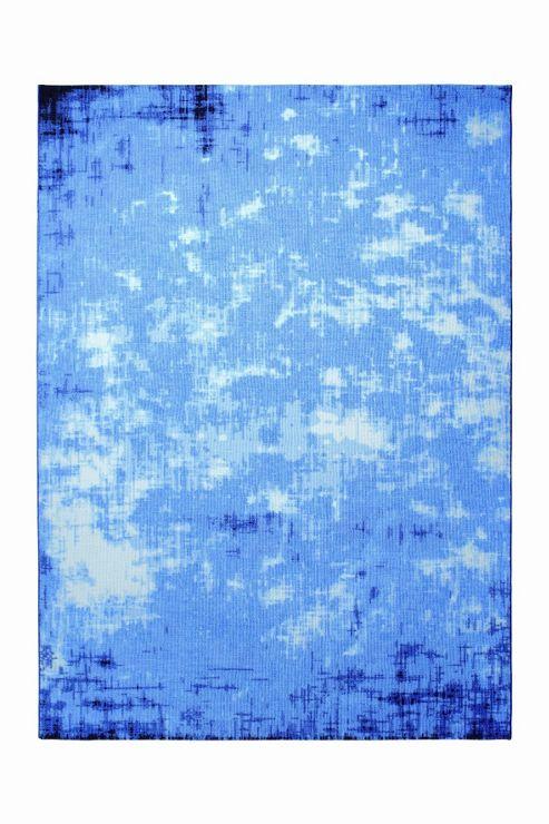 Esprit Vintage Frame Blue Contemporary Rectangular Rug