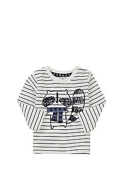 F&F Racoon Striped Long Sleeve T-Shirt - Cream