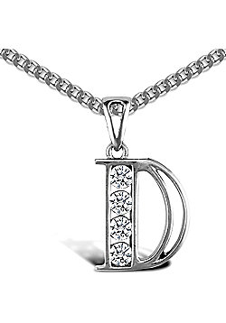 Sterling Silver Cubic Zirconia Identity Pendant - Initial D - 18inch Chain