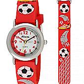 Boys Red Football Time Teacher Watch