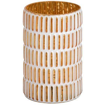 Gold And White Medium Pattern Decorative Tea Light Candle Holder