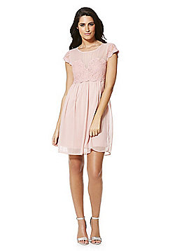 Vila Lace Detail Chiffon Bridesmaid Dress - Pink