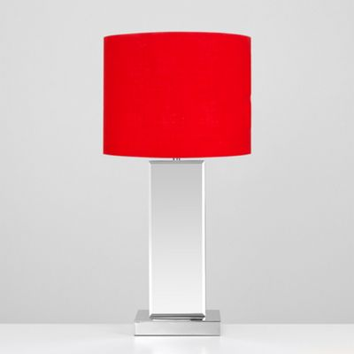 Savoy Bevelled Mirror Touch Table Lamp - Red