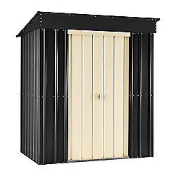 Store More Slate Grey Lotus Metal Pent Shed, 6x3ft