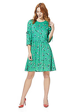Vero Moda Floral Print Jersey Flared Dress - Green & Multi