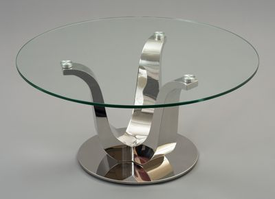 Naples Stylish Modern Designer Glass Coffee Table with Stainless Steel Frame