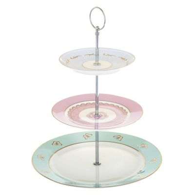 Bombay Duck Miss Darcy Hotchpotch 3 Tier Cake Stand Lilac, Green and Gold