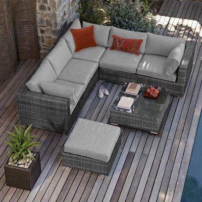 Buy Maze Rattan London Rattan Corner Sofa Set Grey