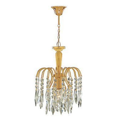 Waterfall Gold Pendant Light With Crystal Buttons & Drops