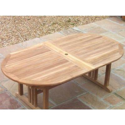 Large Oval Teak Pedestal Table - 190cm X 100cm