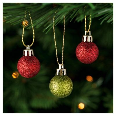 Tesco Red & Green Baubles, 24 Pack