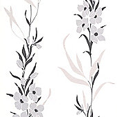 Superfresco Easy Jardin Paste The Wall Floral Silver Wallpaper