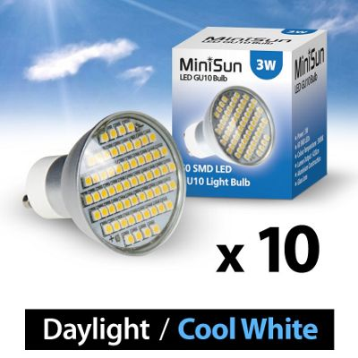 Pack of 10 Minisun GU10 3w 60SMD LED Bulb 6500k Daylight 420Lumens