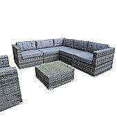 Bermuda Outdoor Grey Rattan Corner Sofa Set
