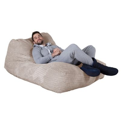 Lounge Pug® Double Day Bed Bean Bag - Cord Ivory