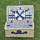 Outsunny 4 Person Wicker Hamper Picnic Basket w/ Full Picnic Set