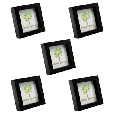Nicola Spring Black 4x4 Box Photo Frame - Standing & Hanging - Pack of 5