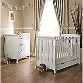 Obaby Lincoln 2 Piece Mini Cot Bed/Changing Unit/Sprung Mattress - White