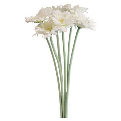 Nicola Spring Artificial Long Stem Gerbera Plant In White - 54cm - Bunch Of 6 Stems