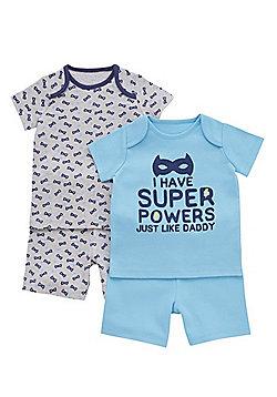 F&F 2 Pack of Superhero Slogan Pyjamas - Blue & Grey