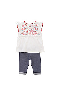 F&F Embroidered Smock Top and Leggings Set - White & Blue
