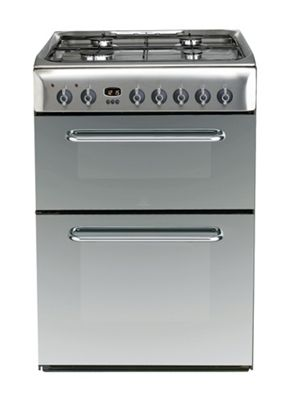 Indesit Electric Cooker with Electric Grill and Gas Hob, KDP60SE S - Mirror Finish