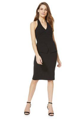 Feverfish Halter Neck Peplum Dress Black 12