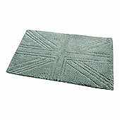 Homescapes Cotton Tufted Rug Union Jack Plain Embossed Mat Sage Green,90 x 150 cm