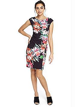 Wallis Tropical Floral Print Ruched Pencil Dress - Black & Multi