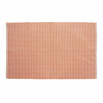 Homescapes Cotton Gingham Check Rug Hand Woven Orange White, 110 x 170 cm
