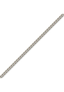 Rhodium Sterling Silver Pendant Curb Link Chain Necklace
