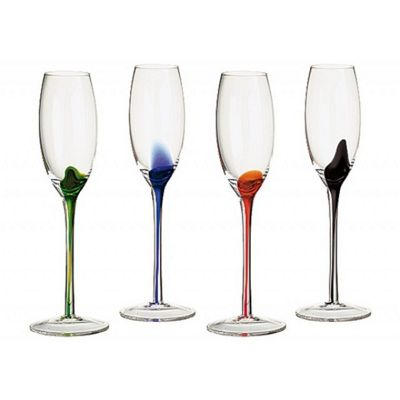 The DRH Collection Artland Splash Set of 4 Champagne Flutes